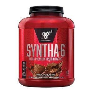 SYNTHA-6® Ultra Premium Lean Muscle Protein Power SYNTHA-6® es una proteína en polvo ultra-premium con el mejor sabor del mercado. SYNTHA-6® no sólo incluye aminoácidos esenciales y ácidos grasos esenciales, también es una excelente fuente de fibra y contiene 6 g de grasa por porción, lo que hace que sea un suplemento de proteína nutritiva y multi-funcional. SYNTHA-6® es el refuerzo a la nutrición o para cualquier régimen de ejercicios, ya que está diseñado para adaptarse a una variedad de estilos de vida activos y los planes de dieta. Y con SYNTHA-6®, el alto nivel de proteína de calidad viene con sabor a la altura, gracias a la tecnología exclusiva en sabor de BSN®. Características Scoop de 48 grs. Cantidad de servicios 48. 5 grs de Fibra. 180 grs de Sodio. 22 grs de proteína por servicio. 5 grs de Azúcar. 10 grs de Carbohidratos. 200 calorías. Suplementación de proteínas Cubrir la ingesta diaria adecuada de proteínas es importante en cualquier régimen de ejercicio regular. Las proteínas son necesarias para ayudar a reparar los músculos destrozados durante el ejercicio para construir músculo nuevo. El uso de un polvo de proteína de calidad le ayudará a complementar la cantidad diaria de proteína requerida por su cuerpo y le ayudará a aprovechar los beneficios de cada sesión de entrenamiento. Si usted es nuevo en hacer ejercicio o si usted es un atleta competitivo, una proteína de calidad es esencial en su régimen de dieta. Realmente delicioso BSN® rompió la barrera de sabor proteína una vez por todas con la introducción de SYNTHA-6®. Disponible en más de 10 sabores, SYNTHA-6® se mezcla como un delicioso batido y está diseñado para cualquier persona que quiere complementar la ingesta diaria de proteínas para ayudar a alcanzar sus metas de nutrición y condición física. Uso recomendado Tome con NITRIX® 2.0, NO-XPLODE® y CELLMASS® 2.0 para el máximo rendimiento físico. Diseñado para Cualquier persona que quiere una proteína en polvo ultra-premium para ayudarle a alcan